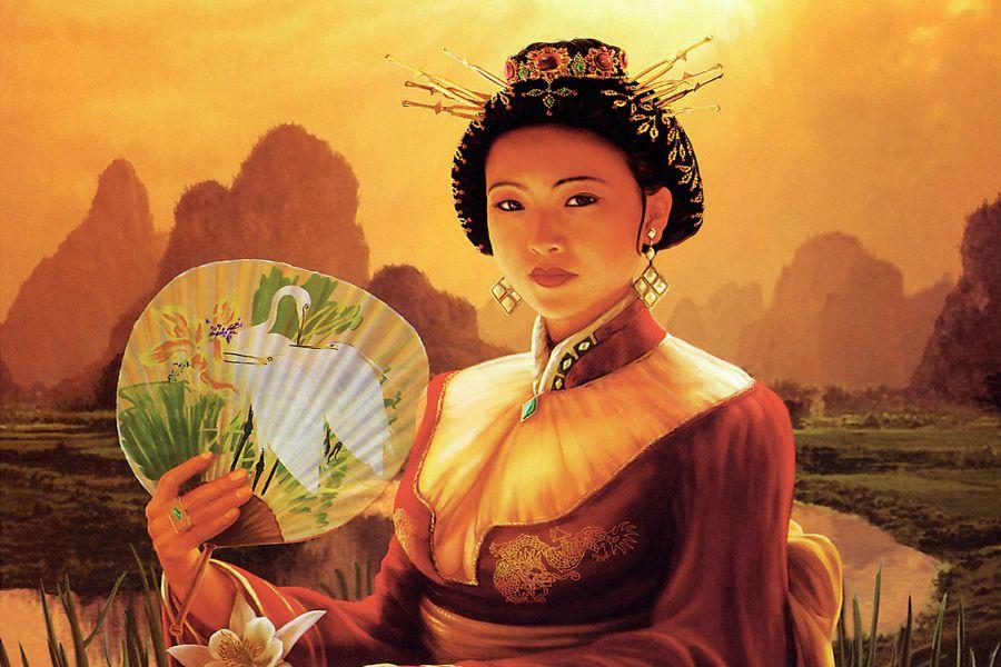 Картинка китаянка с веером